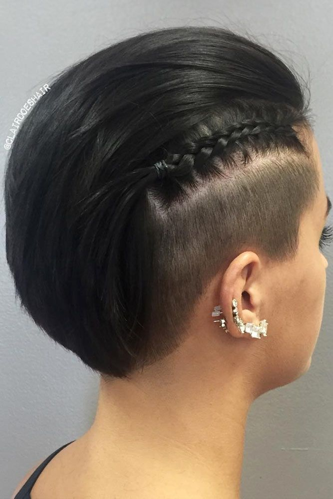 Black Undercut Hairstyle With Braid #undercuthairstyles #hairstyles