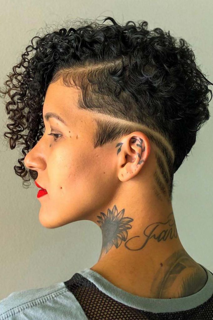Undercut With Side Shaved Lines Curls #undercutwomen #undercut