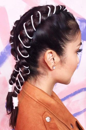 Double Braided Hairstyles With Ties #braids