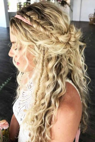 Side Braid Hairstyles Half-Up #braids #halfup