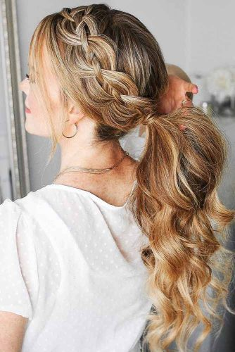 Ponytails With Stacked Braids #braids #ponytail