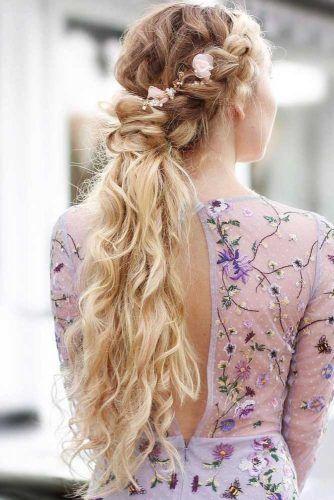 Charming Braided Ponytail Crowns #braids #updo #ponytail