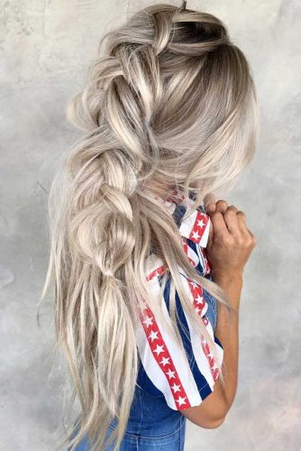Romantic Messy Braided Hairstyles Dutch #braids #longhair