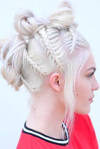Romantic Messy Braided Hairstyles Fauxhawk #braids #fauxhawk