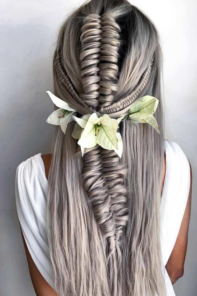 Braided Hairstyles With Flowers #braids #longhair