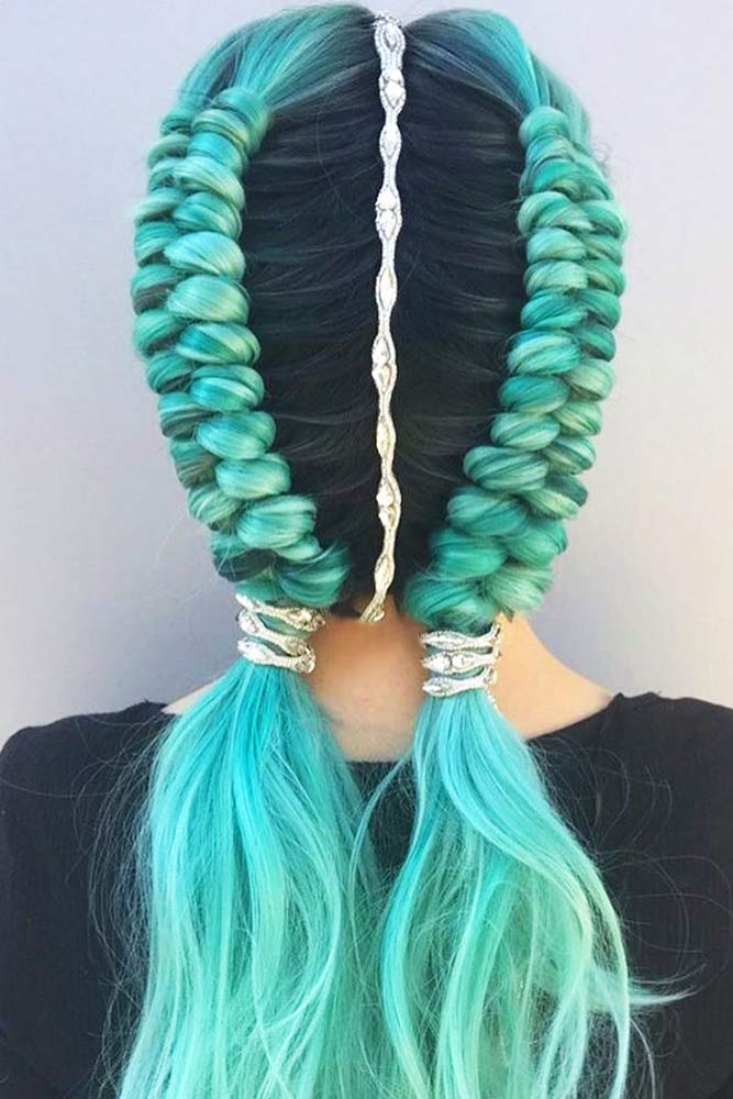 Dutch Infinity Braid #braids #bluehair #infinitybraid