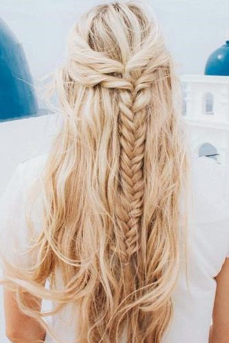 Half-Up Fishtail Braid #braids #half-up