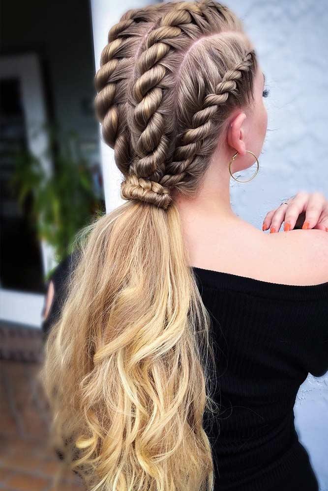 Stylish Twisted Braided Ponytails #braids #ponytail