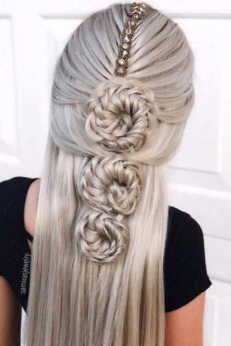 Accessorized Inspiring Half Up Bun Hairstyles For Long Hair  #hairstylesforlonghair #christmashairstyles #hairstyles #halfuphairstyles