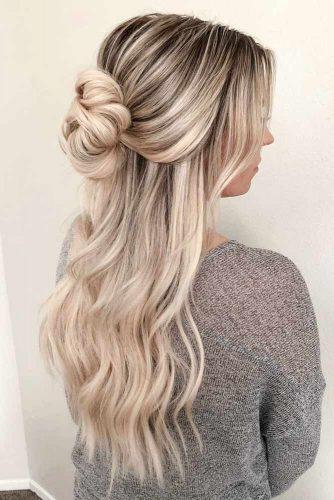 Inspiring Half Up Bun Hairstyles For Long Hair  #hairstylesforlonghair #christmashairstyles #hairstyles #halfuphairstyles