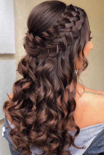Braided Half Up Updo For Wavy Hair  #hairstylesforlonghair #christmashairstyles #hairstyles #halfuphairstyles
