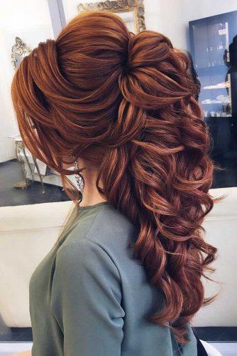 Auburn Voluminous Hairstyles For Long Hair  #hairstylesforlonghair #christmashairstyles #hairstyles #halfuphairstyles