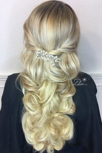 Wavy Accessorized Half Up Hairstyles For Long Hair #hairstylesforlonghair #christmashairstyles #hairstyles #halfuphairstyles