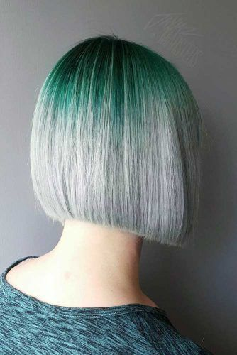 Green To Grey Ombre Bob Hairstyle #shortgreyhair #shorthaircuts #greycolor #bobhairstyle #straighthair