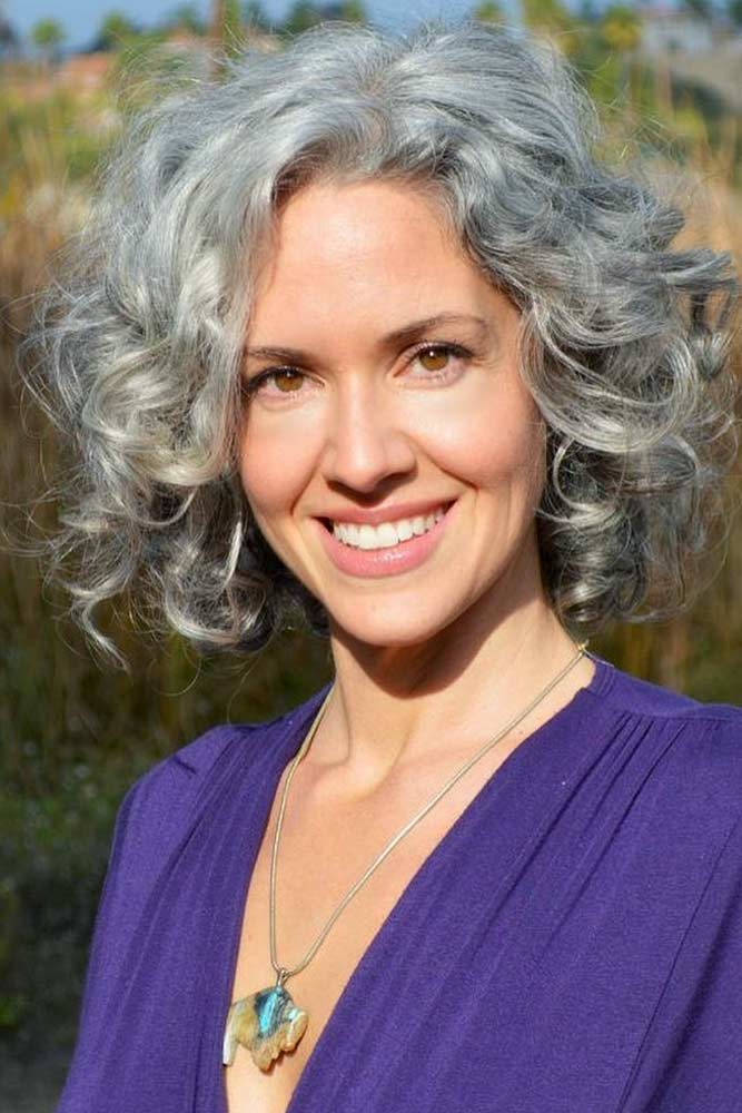 Curly Grey Bob #shortgreyhair #shorthaircuts #greycolor #bobhairstyle