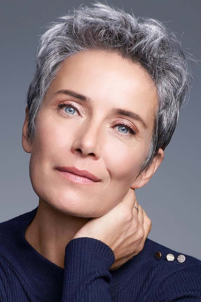 Short Messy Pixie For Woman Over 50 #shortgreyhair #shorthaircuts #greycolor #pixiehairstyle