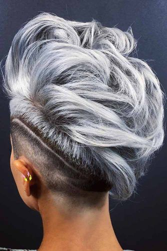 Mohawk With Shaved Stripe #shortgreyhair #shorthaircuts #greycolor #mohawk