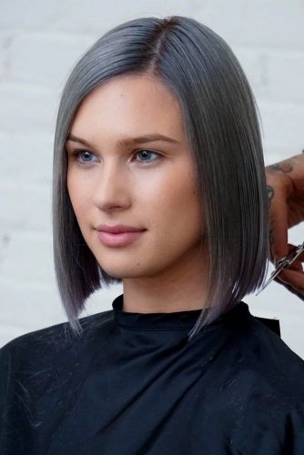 Short To Medium Sleek Straight Bob #shortgreyhair #shorthaircuts #greycolor #bobhairstyle #straighthair