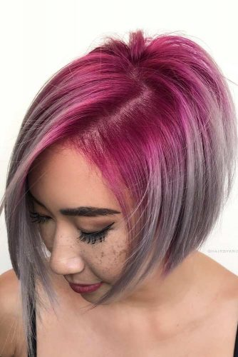 Pink To Grey Ombre Bob Hairstyle #shortgreyhair #shorthaircuts #greycolor #bobhairstyle #straighthair