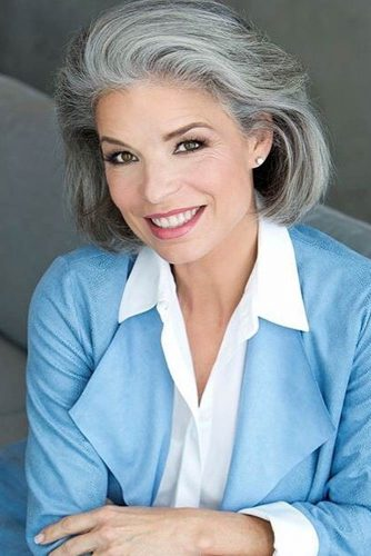Voluminous Bob For Older Women #shortgreyhair #shorthaircuts #greycolor #bobhairstyle