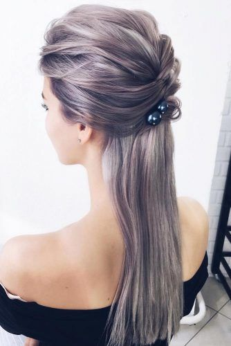Half Up Straight Hairstyles With Accessories #straighthairstyles #longhair #hairstyles