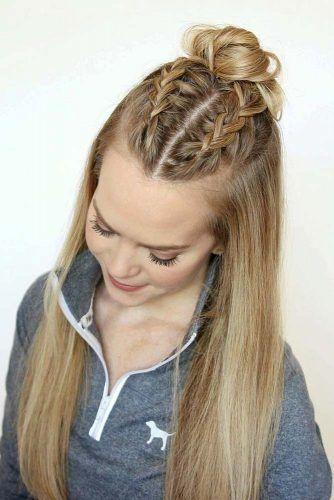 Braided Half Bun Straight Hairstyles #straighthairstyles #longhair #hairstyles