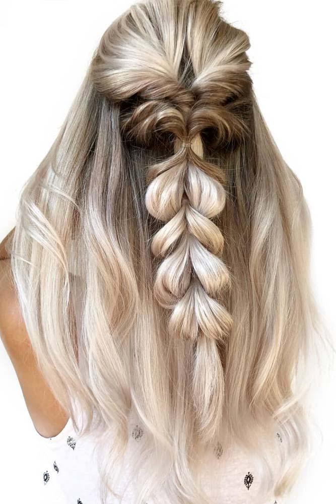 Braided Half Up Straight Hairstyles #straighthairstyles #longhair #hairstyles