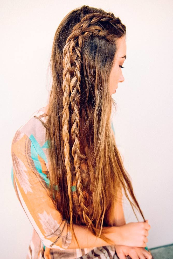 Straight Hairstyles With Side Braid Double #straighthair #straighthairstyles