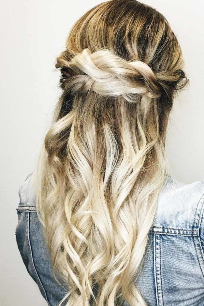 Half Up Braided Long Hairstyles Ombre #straighthair #straighthairstyles