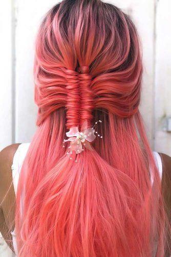 Braided Sleek Half-Ups Red #straighthair #longhair