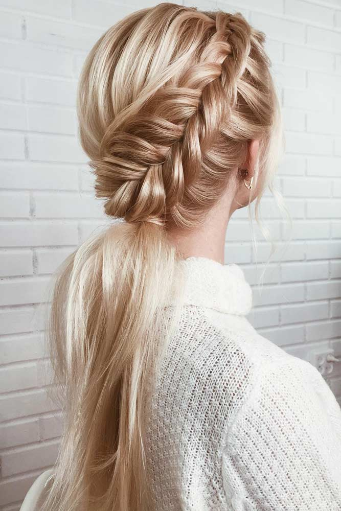 Side Braid Into Ponytail #straighthairstyles #longhair #hairstyles