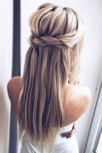 Twisted Half Up Straight Hairstyles #straighthairstyles #longhair #hairstyles