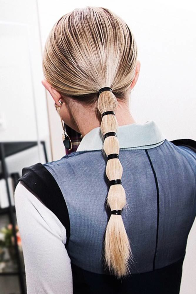 Cool Low Ponytails Tyes #straighthair #straighthairstyles