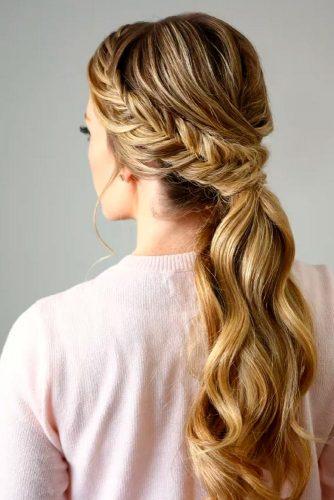 Fishbone Braid with Ponytail Hairstyle