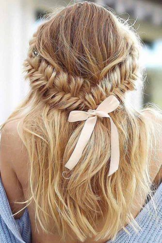Halo Style Fishbone Braids With Bow #braids
