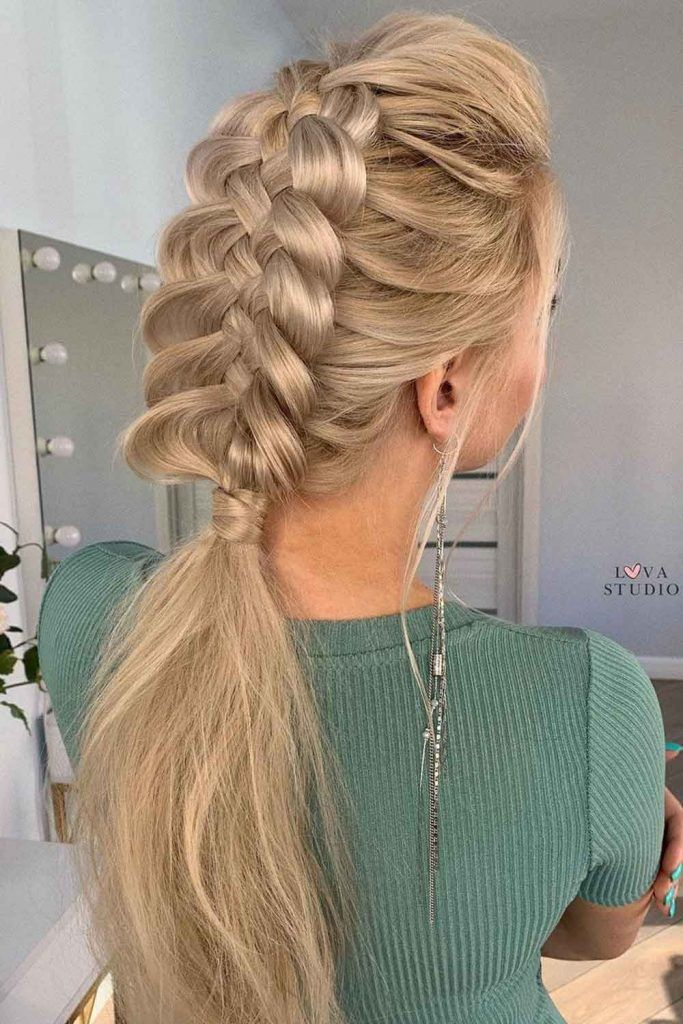 Low Ponytail with the Voluminous Braid