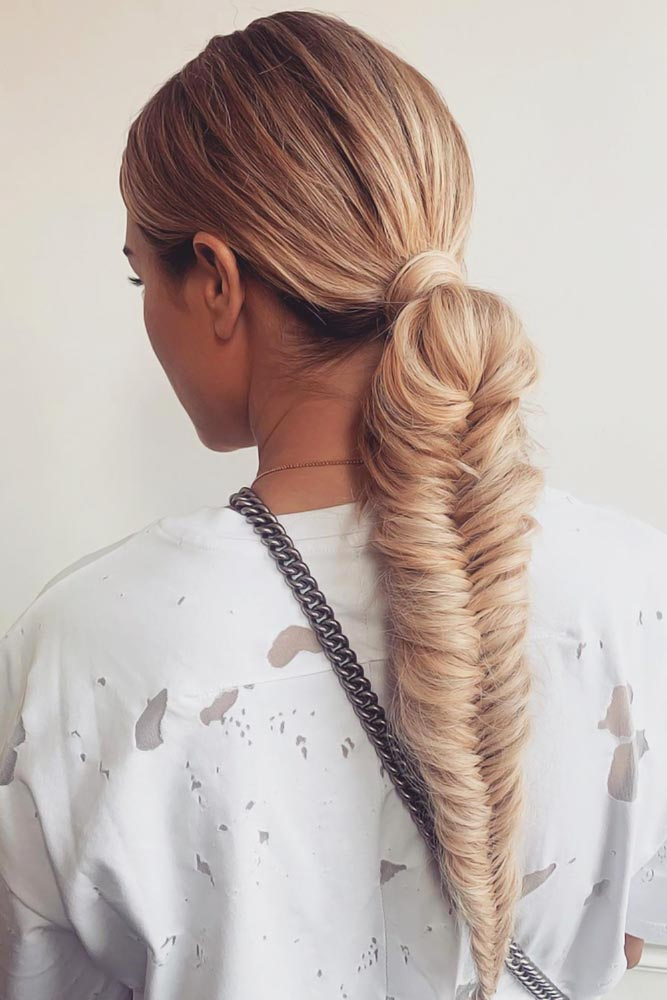 Low Sleek Pony Into Fishbone Braid #braids