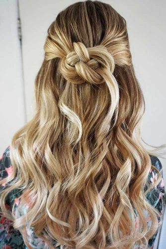 Half-Up Twisted Bun Hairstyles #halfup