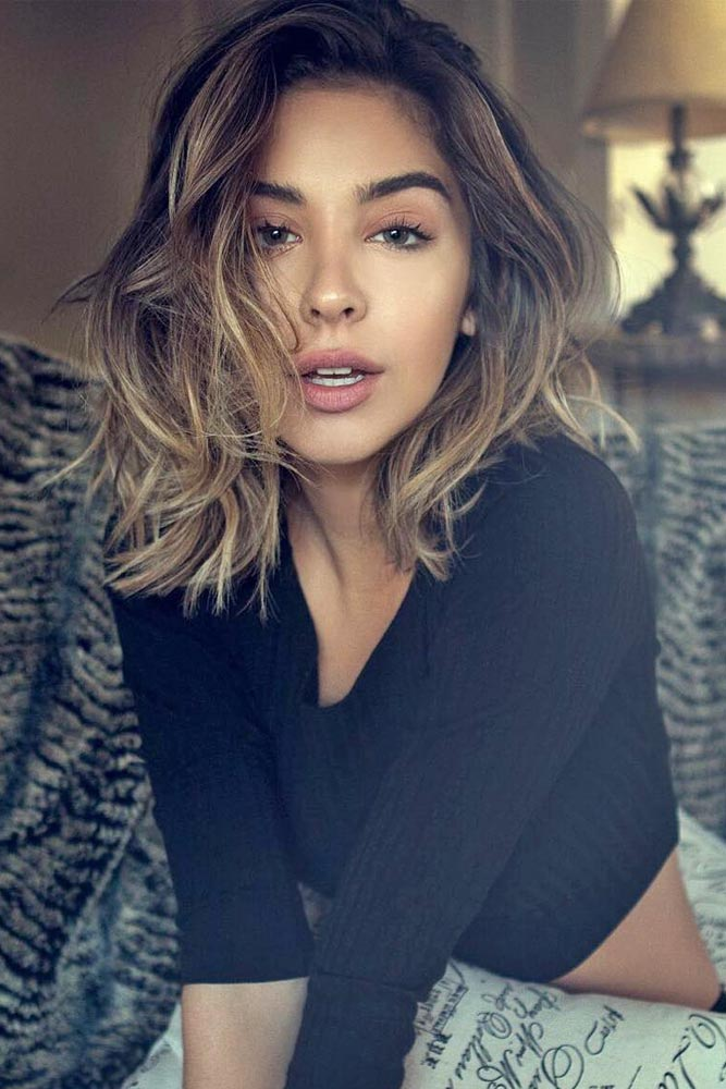 Wavy Medium Length Haircut with Side Part