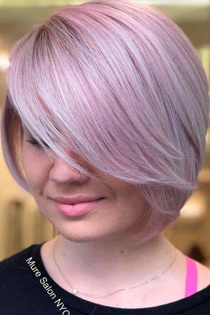 Short Bob With Long Side Swept Bang #shorthair #purplehair