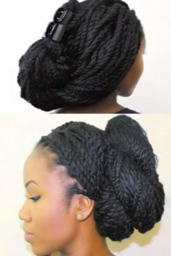 Low Bun Hairstyles with Twists