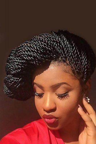 Kinky Twist Updo with Looped Bangs