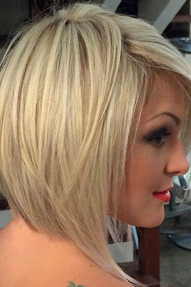Short Angled Bob with Side-Swept Fringe