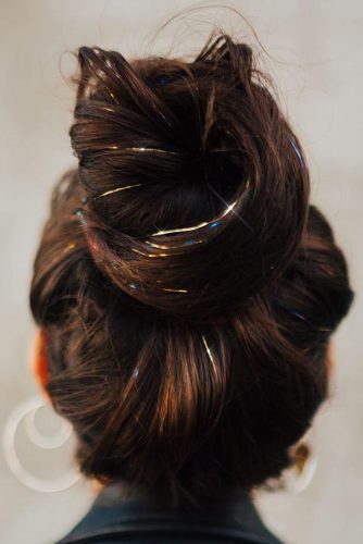 Hair Tinsel Bun #holidayhair #holidayhairaccessories #accessories