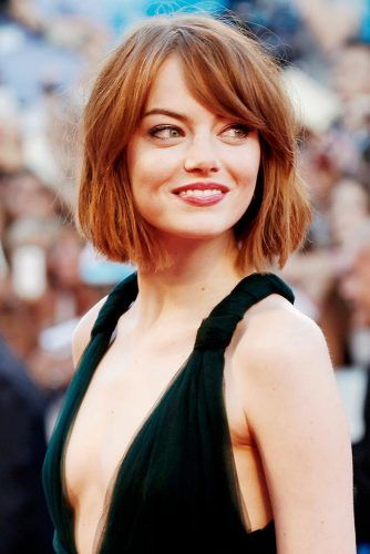 Emma Stone Blunt Bob With Bangs