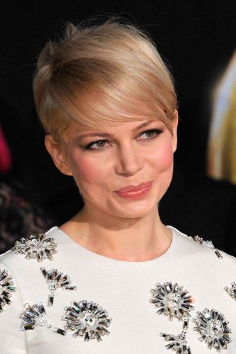 Michelle Williams Pixie Haircut With Deep Side Part