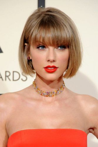 Taylor Swift Stacked Bob With Blunt Bangs