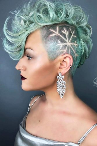 Taper Curly Haircut With Undercut Design