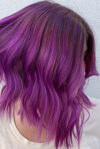Bob Haircut With Purple Balayage