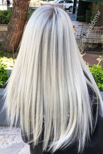 Long Straight Hairstyles Icy Blonde Color